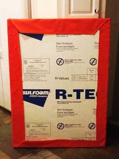 DIY bulletin board made with insulation board.