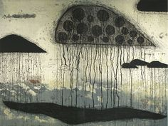 Akiko Taniguchi. Consuming Dawn, 2005. Etching, lithograph, chine colle. Edition of 6. 36 x 48 inches.