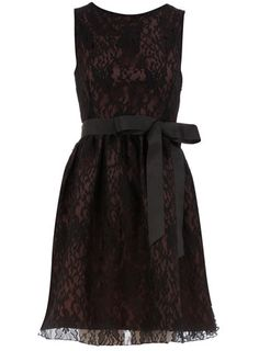 Black lace ribbon dress