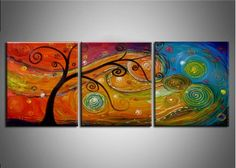 Textured Tree Wall Art Painting 372 - 60 x 24in