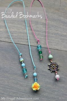 DIY Beaded Bookmarks {Fun Children's Craft}                                                                                                                                                                                 More