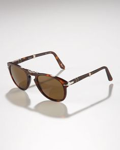 Polarized Folding Sunglasses, Havana by Persol at Bergdorf Goodman.