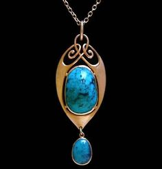 This is not contemporary - image from a gallery of vintage and/or antique objects. MURRLE BENNETT & Co. (1896-1914)  A gold pendant set with a domed, matrix turquoise with a turquoise drop in a gold mount.