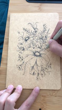 Across Fields Studio Original Work Floral Bouquet Pen Drawing Realistic Flower Drawing, Simple Flower Drawing, Easy Flower Drawings, Beautiful Flower Drawings, Flower Sketches, Floral Drawing, Art Sketches, Drawing Flowers, Painting Flowers