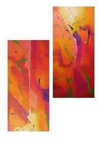Cuadro diptico -Acrilico espatulado sobre lienzo 30x70 c/u