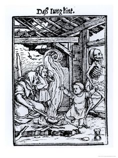 """Death Taking a Child from the """"Dance of Death"""" Series by Hans Holbein the Younger, woodcut"""