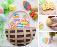 See how to make this Easter Paper Plate Basket with potato stamped Easter eggs!