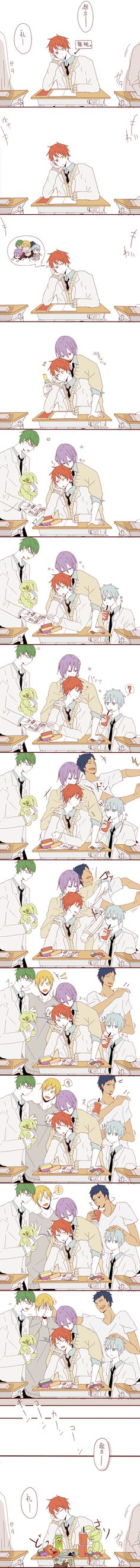 So cute, I love how they all appear one by one depositing things on his desk after he thinks about them | Akashi is loved :) | KnS | Teiko | KnB