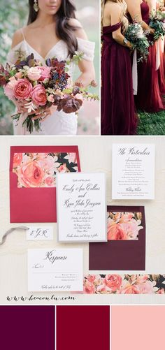 Blush, coral, crimson red, and burgundy floral inspired Blush Petals wedding invitations. Simple typographic fonts on bright white paper creates a classic, yet modern/timeless look.