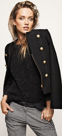Black  white jacket w/ gold buttons Recreate with : CAbi fall '13 Plaid Hatter Crop, Coco shell and Ponte Moto Jacket