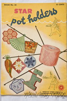 "Vintage 1950's Crochet Pattern Book--American Thread Co. No.32-""Star Pot Holders"""