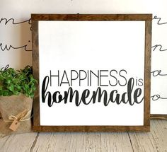 Happiness is Homemade | Mothers Day Gift Idea | wood sign | fixer upper style | for your home 13x13 by BunkhouseandBroadway on Etsy