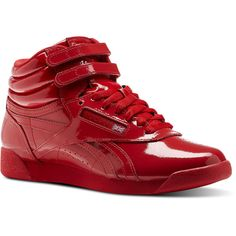 Reebok Freestyle HI PATENT ($70) ❤ liked on Polyvore featuring shoes, primal red, grip shoes, red shiny shoes, red patent leather shoes, polish patent leather shoes and patent shoes