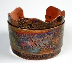 Copper Cuff Bracelet A Rustic Hammered and Etched by FebraRose