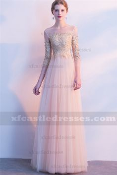 7f96fe1665 2018 Champagne Lace Long Prom Dresses with Sleeves FFN61 Prom Dresses With  Sleeves