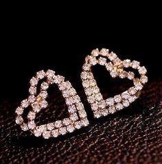 Heart Lock in Heart Rhinestone Fashion Earrings   LilyFair Jewelry, $15.99!