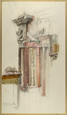 The Elements of Drawing, John Ruskin's teaching collection at Oxford I Study in Colour of one of the Niches surrounding the Tomb of Cansignorio della Scala at Verona, with Remains of the 'Casa di Romeo' I John Ruskin I ca. May - June 1869 Watercolor Architecture, Architecture Drawings, Present Drawing, Drawing School, John Ruskin, Drawing Websites, Urban Sketching, Watercolor And Ink, Dibujo