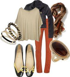Ivory, Denim, Colored pant, Scarf #mycreation