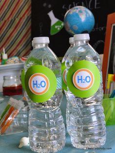 Mad Science Party Science Party Einstein Party Cientista Maluco festa water bottles garrafinhas de agua decoradas