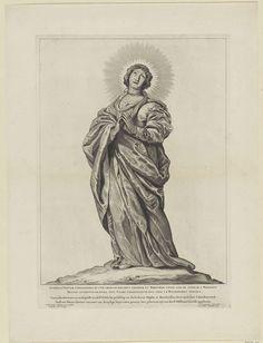 Cornelis Visscher (II)   H. Cunera van Rhenen, Cornelis Visscher (II), Pieter Claesz. Soutman, unknown, 1650   De heilige Cunera van Rhenen met een versierd haarnetje op het hoofd en om haar hals een wurgdoek, een verwijzing naar het moordwapen waarmee ze ter dood gebracht werd. Deze prent maakt deel uit van een reeks Nederlandse heiligen.