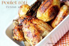 Ppoulet rôti, à la chair très tendre : juteux et aromatisé à l'ail, citron, thym, bien doré avec un début de cuisson à la poêle avant de fin de cuire au four.