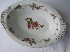 Vintage Summit Moss Rose Oval Serving Bowl by thechinagirl on Etsy