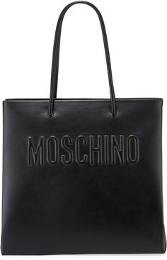 Moschino Smooth Leather Quilted Logo Tote Bag ceba06feb5da1