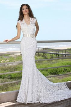 Gorgeous lace fit and flare gown <3 #weddingdress {DaVinci Bridal}