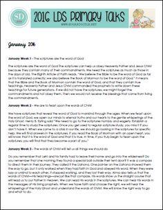 2016 LDS Primary Talks