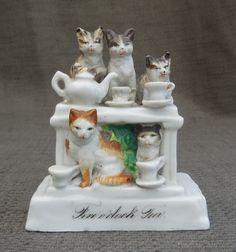 Adorable c1880s Antique CAT Carnival FAIRING...Five O'Clock Tea...Victorian Cats Fairground Prize...Vintage Cat Figurine Ornament! by SlimandSugar on Etsy