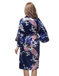 Royal Blue Satin Peacock Kimono Robe, Wedding Kimono Nightgown, Short Style Bridesmaid Robes, Bachelorette Party Robes