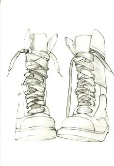 This drawing begins again with weight of line, however sculpting and pushing the form further by introducing some tone. Here darker areas of the subject are seen though shading. drawing of boots, introducing tone