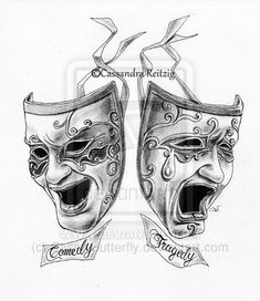Comedy Mask Tattoo Comedy tragedy masks tattoo
