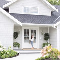 Our Exterior Home Reveal - Fraiche Living White Exterior Paint, White Exterior Houses, Exterior Paint Colors For House, Grey Houses, Modern Farmhouse Exterior, Paint Colors For Home, Grey Homes Exterior, Grey House Paint, Grey House White Trim