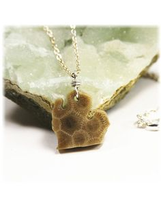 Petoskey Stone / Lower Peninsula / Sterling Silver Filled  by SimplyWired4u