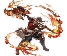 axe back belt blue_eyes boots brown_hair fire fur_trim gloves granblue_fantasy headband minaba_hideo official_art ryan_(granblue_fantasy) scar solo transparent_background weapon Game Character, Character Concept, Concept Art, Fantasy Character Design, Character Design Inspiration, Dnd Characters, Fantasy Characters, Manga Japan, Fantasy Kunst