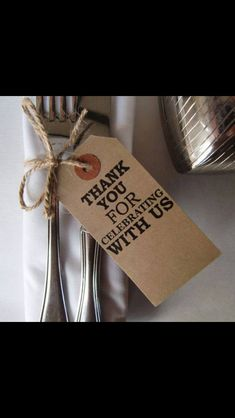 Wedding favour rustic tag thanks