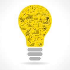 Ingimage | Stock Image Details: ING_38192_00898 - Doodle idea lightbulb icon with infographics charts isolated vector illustration