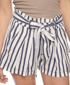 Striped Paper Bag Waist Shorts | FOREVER21