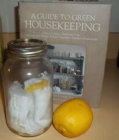Lemon Dusting Cloths  Tear up some old flannel or whatever you like for dust cloths..  Put 2 parts white vinegar and 2 parts water in a bowl..Add a few drops of lemon or olive oil..Put your cloths in and then wring them out..Spread them out on your counter and place a couple of fresh lemon peels on top of them and fold up again..Store in the mason jar..All you do after they get dirty is wash and replace using the same method... You could do at least 4 or 5 of them at once...