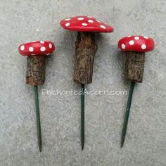 Painted stone and Twig mushrooms.Creating your Fairy Garden can begin by adding mushrooms that you can DIY|fairiehollow.com #fairygardening