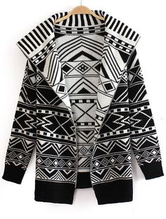Black and White Wide Lapel Geometric Pattern Knitting Coat US$36.07