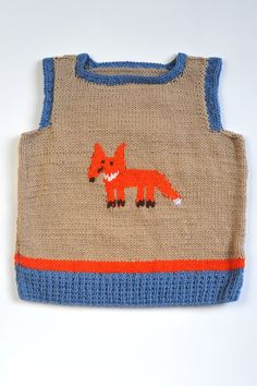 Boys Vest with Fox Knitted Tank Top Slipover V neck Blue and Brown Beige Taupe Orange Merino wool warm winter knitting 3-4 T. $40.00, via Etsy.