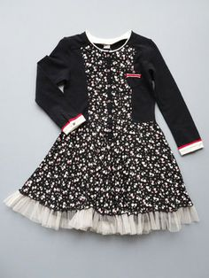 Adorable Eliane et Lena Toddler and Girls Black and Ivory Riny Dress with a tiny cat pattern!