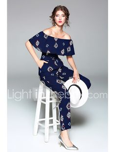 Women's Going out Casual/Daily Holiday Simple Sexy Print Boat Neck Jumpsuits,Slim Short Sleeve Spring Summer Polyester 2017 - kr.129