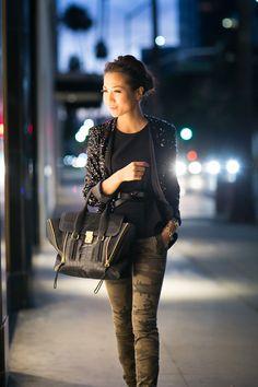 Sparkle at Dusk :: Sequin jacket & Camo print : Wendy's Lookbook