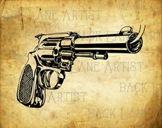 Vintage Gun Clipart Lineart Illustration Instant by BackLaneArtist