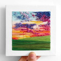 I Create Landscapes With Needle And Thread Learn Embroidery, Modern Embroidery, Hand Embroidery Patterns, Embroidery Art, Cross Stitch Embroidery, Yarn Painting, Thread Painting, Thread Art, Needle And Thread