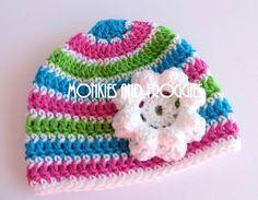 #crochet #cute Striped Flower Hat