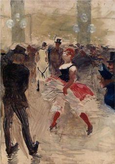 A l Elysee Montmartre - Henri de Toulouse-Lautrec. Toulouse-Lautrec is known along with Cezanne, Van Gogh, and Gaugin as one of the greatest painters of the Post-Impressionist period. Henri De Toulouse Lautrec, Art Nouveau, Edgar Degas, Renoir, Klimt, Claude Monet, French Artists, Anime Comics, Op Art